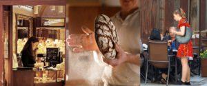 Mosaïque métiers de bijoutière, boulanger, serveuse